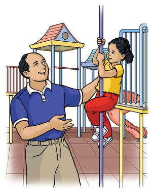Man standing near small child sliding down playground pole.