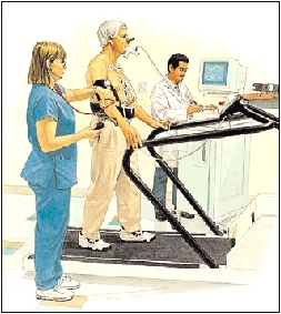Man with wires attached to chest walking on treadmill. Wires go to machine next to treadmill. Healthcare provider is monitoring machine. Man has tube in mouth and nose pinched shut. Another healthcare provider is taking man's blood pressure.
