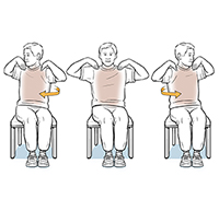 Man sitting in chair doing body twist exercise.