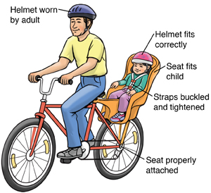 Man riding bicycle with child in bike seat. Both riders wear helmets, bike seat fits child, seat straps are buckled tightly, and seat is attached to bike properly.