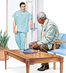 Health care provider greeting man in waiting room.