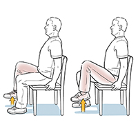 Man sitting in chair doing seated march exercise.